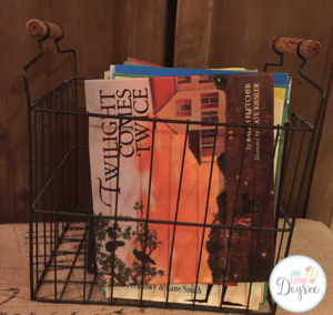 Wire baskets are perfect for storing books in the classroom.