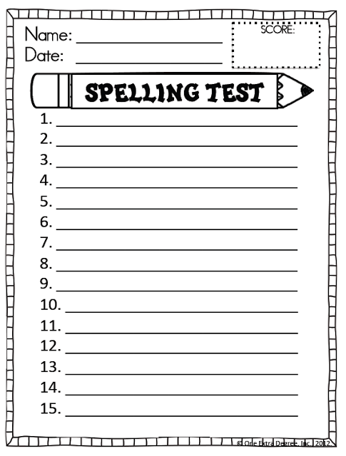 Free spelling test template one extra degree for Test templates for teachers